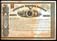 Share of the American Express Company, issued 13. October 1865; signed by William G. Fargo as Secretary and Henry Wells as President