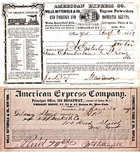 American Express Co. early shipping receipts (1853, 1869)