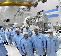 President Macri in the INVAP with the SAOCOM A and B, two planned Earth observation satellite constellation of Argentine Space Agency CONAE. the scheduled launch dates for 1A and 1B were further pushed back to October 2017 and October 2018.