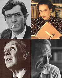 Four of the most influential Argentine writers. Top-left to bottom-right: Julio Cortázar, Victoria Ocampo, Jorge Luis Borges and Adolfo Bioy Casares