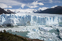 Argentina features geographical locations such as this glacier, known as the Perito Moreno Glacier