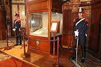 Two members of the Regiment of Mounted Grenadiers guarding the Constitution of the Argentine Nation inside the Palace of the Congress.