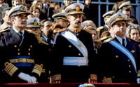 Admiral Emilio Massera, Lieutenant General Jorge Videla and Brigadier General Orlando Agosti (from left to right) – observing the Independence Day military parade on Avenida del Libertador, 9 July 1978.