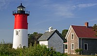 Nauset Light, erected here in 1923 and moved to a safer location in 1996, is on the National Register of Historic Places.