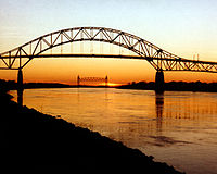 The Bourne Bridge over the Cape Cod Canal, with the Cape Cod Canal Railroad Bridge in the background