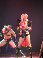 Spears performing on The Circus Starring Britney Spears tour, March 2009