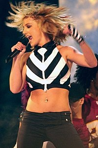 Spears performing at the NFL Kickoff Live in September 2003
