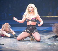 """Spears performing """"Hot as Ice"""" on the Circus Starring Britney Spears tour in 2009"""