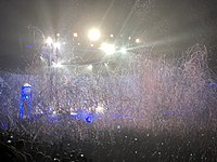 Confetti falls during The Killers' Sydney concert in April 2018.
