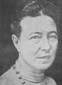 Simone de Beauvoir (1908–1986) was a French writer, intellectual, existentialist philosopher, political activist, feminist and social theorist.