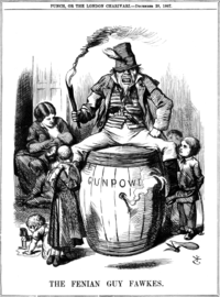 """""""The Fenian Guy Fawkes"""" by John Tenniel, published in Punch magazine, on 28 December 1867"""