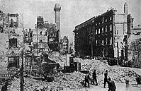 Rubble in the Sackville Street of Dublin after the failed Easter Rising in 1916.
