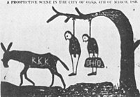 A cartoon threatening that the KKK will lynch carpetbaggers, in the Independent Monitor, Tuscaloosa, Alabama, 1868