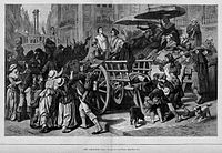 """""""Enemies of the people"""" headed for the guillotine during the Reign of Terror"""