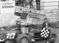 Blaney after a sprint car win at Port Royal Speedway in 1984