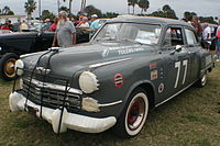 A Studebaker driven by Dick Linder in the 1951 Daytona Beach Road Course race.