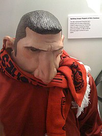 Puppet of Cantona which appeared on the British satirical puppet show Spitting Image during the 1990s