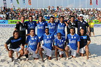 Cantona (top right) with his squad as head coach of the French beach soccer team before a Euro Beach Soccer League match in 2010