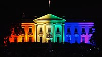 The White House illuminated in the rainbow flag colors in June 2015