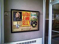 An honorary display of Seely inside the original Titusville Trust Company building. As a young adult, Seely worked for the trust company full-time.