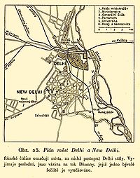 Map of Delhi and New Delhi after the First World War. The descriptions are in Czech.
