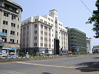 Parry's Corner, one of the oldest business areas of Chennai, lined up with Art Deco buildings.