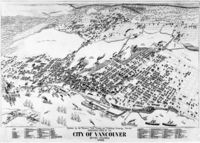 """Birds-eye view of Vancouver in 1898. Top left area marked with """"Upper False Creek Flats"""" was the eastern part of False Creek before land reclamation"""