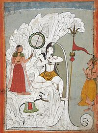 Gangadhara, Shiva bearing the Descent of the Ganges River as Parvati and Bhagiratha, and the bull Nandi look on. circa 1740