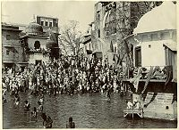 Main bathing Ghat, at Haridwar, in the 1880s.