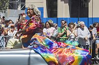 Trans activist Miss Major, a participant in the 1969 Stonewall Riots, in Pride 2014 SF