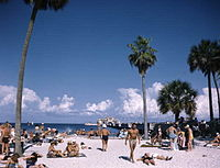 Spa Beach, located in downtown St. Petersburg, pictured in 1954