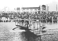 The Benoist XIV pictured taking off for the first time on January 1, 1914