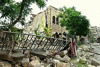 The National Presbyterian Church of Aleppo after being destroyed on 6 November 2012