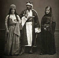 Two Bedouins and a Jewish woman in Aleppo, 1873