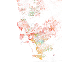 Map of racial distribution in San Diego, 2010 U.S. Census. Each dot is 25 people: White, Black, Asian , Hispanic , or Other (yellow)