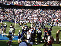 Qualcomm Stadium hosts a Chargers game against the St. Louis Rams.