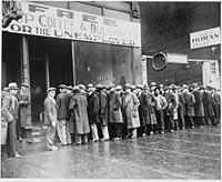 Unemployed men outside a soup kitchen opened by Al Capone in Chicago during the Depression, February 1931