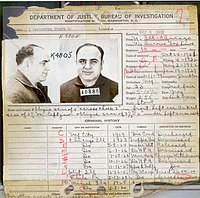 Capone's FBI criminal record in 1932, showing most of his criminal charges were discharged/dismissed