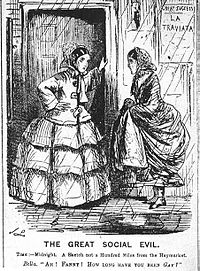 """Cartoon from Punch magazine in 1857 illustrating the use of """"gay"""" as a colloquial euphemism for being a prostitute. One woman says to the other (who looks glum), """"How long have you been gay?"""" The poster on the wall is for La Traviata, an opera about a courtesan."""