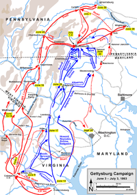 Stuart's ride (shown with a red dotted line) during the Gettysburg Campaign, June 3 – July 3, 1863