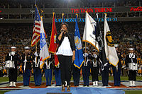 """Jennifer Hudson's first public appearance after the murder of three family members, including her mother, sings the """"National Anthem"""" at Super Bowl XLIII"""
