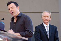 MacFarlane speaking at a ceremony for Bill Maher to receive a star on the Hollywood Walk of Fame in September 2010
