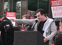 MacFarlane speaking at a Writers Guild of America rally in Culver City on November 9, 2007