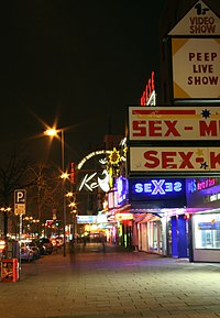 Nightclub on the Reeperbahn in St Pauli – the red-light district of Hamburg where the Beatles performed extensively from 1960 to 1962 (photo taken 2006)