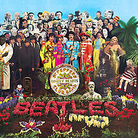 """Front cover of Sgt. Pepper's Lonely Hearts Club Band, """"the most famous cover of any music album, and one of the most imitated images in the world"""""""