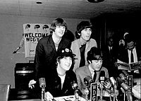 The band at a press conference in Minnesota in August 1965, shortly after playing Shea Stadium in New York
