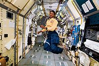 """NASA astronaut Mae Jemison, shown here on a Space Shuttle mission, plays an Enterprise officer in the sixth-season episode """"Second Chances""""."""