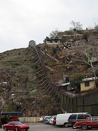 On the left: Nogales, Arizona; on the right, Nogales, Sonora.