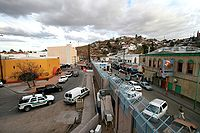 Border between Nogales, Arizona, on the left, and Nogales, Sonora, on the right.