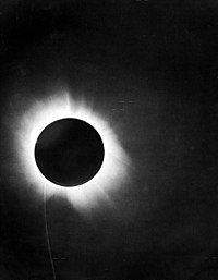 """One of Eddington's photographs of the total solar eclipse of 29 May 1919, presented in his 1920 paper announcing its success, confirming Einstein's theory that light """"bends"""""""